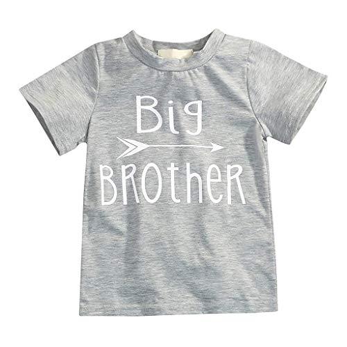 Yanhoo-Kinder Baby Boy Slip Print Kurzarm T-Shirt T Oberteile Geschwister Kleidung Outfits Boy Kurzarm Bruder Schwester Print Kurzarm T-Shirt Big Brother