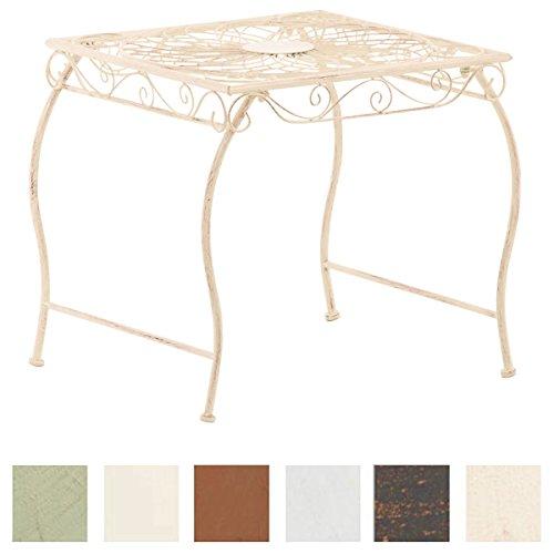 CLP Eisentisch Zarina Design I Robuster Gartentisch mit kunstvollen Verzierungen Antik Creme