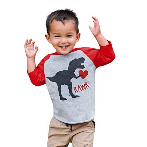 ODRD Kids Baby Boy Girl Family Valentine Shirt Cartoon Dinosaur Love Tee Tops Outfits
