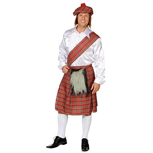 Erwachsenen Kostüme Schotte (Schotten-Set 3-tlg Schottenrock Schärpe Mütze Kostüm Schotte Fasching)