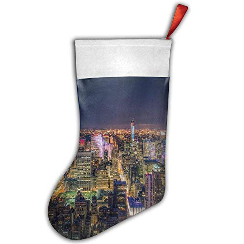 False warm warm Night New York City View Personalized Christmas Hanging Stockings Bag Socks Christmas Tree Decoration Custom Gifts (Christmas Tree Decoration)