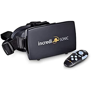 Incredisonic VUE Series VR Glasses, Virtual Reality Headset, & Bluetooth Remote Gaming Control Combo, ~ Includes Comfortable Nose-Pads & NFC ~ 5 Year Warantee ~