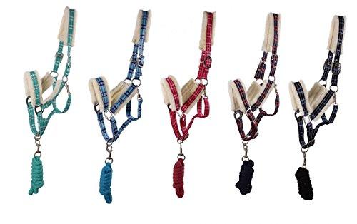 Arbo-Inox Halfter Set mit Strick Luxus kariert Kunstfell 5 Farben 4 Größen Größe Full Warmblut, Farbe türkis
