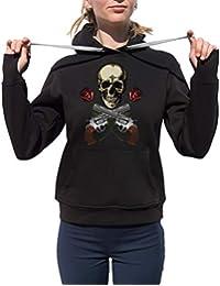 KrisTalas Sudadera con Capucha Mujer Skull Skeleton Hipster Vintage Skull tee Revolvers Red Roses Hard…