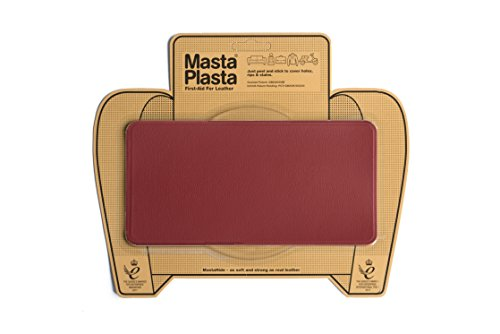 Red mastaplasta self-adhesive leather repair patches. choose size/design. first-aid for sofas, car seats, handbags, jackets etc (red plain 20cmx10cm)
