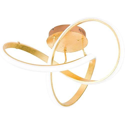 Plafonnier Led design INDIGO doré et blanc en aluminium