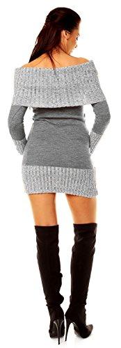 Zeta Ville - Damen Pullover aus Grobstrick Carmen-Ausschnitt Strick-kleid - 913z Grau