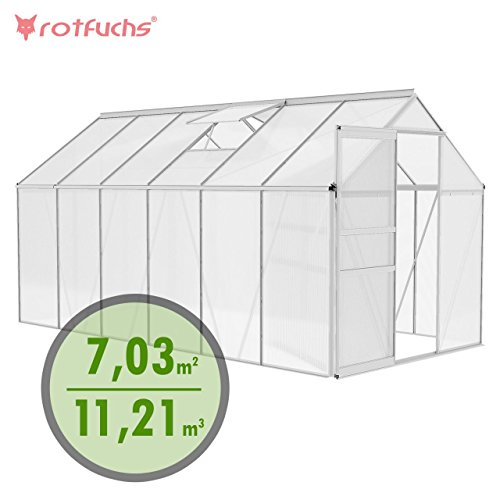 Rotfuchs Aluminium Gewächshaus Treibhaus Frühbeet Gartenhaus Tomatenhaus Pflanzenhaus 11,21 m³ - 3,70 m x 1,90 Dachplatten 6 mm Fundament optional