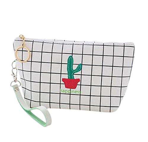 Toruiwa Cosmétique Sac pochette Sac de maquillage Cuir PU avec motif Cactus Sac de rangement Tote Sac étanche de grande contenance avec bague d'Pull en métal pour voyage ou l'utilisation à domicile 1 pcs