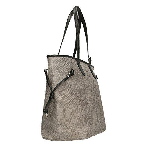 CTM Sac à bandoulière femme avec grandes poignées, motif tressé, cuir véritable Fabriqué en Italie - 46x30x17 Cm gris