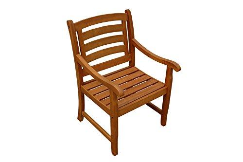 IND-70019-ST 2 x Gartenstuhl Montana, Holzsessel Garten Sessel aus Holz - 58 x 65 x 91 cm