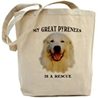 Cafepress–My Great Pyrenees is a Rescue,–Borsa di tela naturale, panno