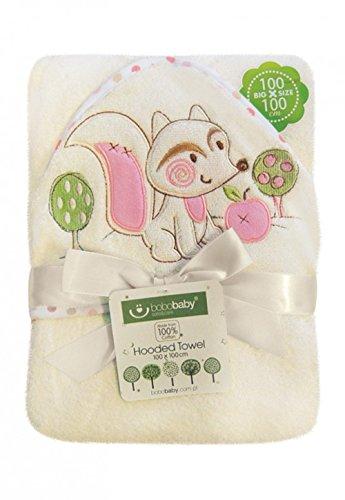 BOBOBABY Baby Mädchen Badetuch mit Kapuze 100x100cm aus 100% Baumwolle Rosa-Fuchs (EKO-D)