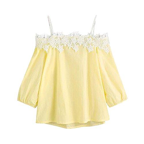 Minetom Frauen Casual Mode Schulterfrei T-Shirt Weste Party Club Tops Damen Oberteil Blumen Spitze Applikation Bluse Gelb DE 40 (Pullover Kurze Metallischen Ärmel)