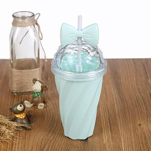 izende 400Ml Süßigkeit-Farben-Zitronensaft-Kaffeetasse-Bowknot-Stroh-Schale Mit Deckel-Stroh-Wasser-Plastikschale, 200-400Ml Grün ()
