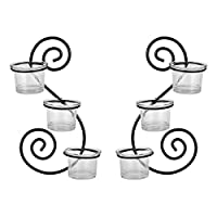 Harmony Glass Candle Holder With 2 Metal Hanger - 6 Piece Set
