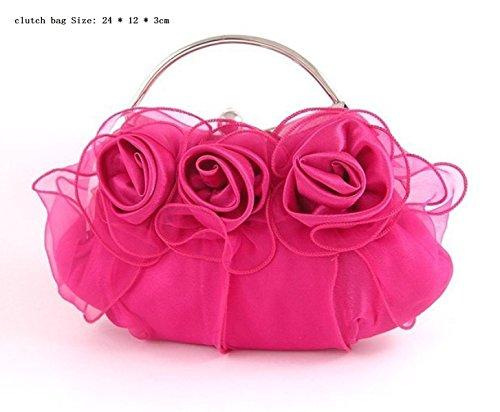 Damen Abendtasche Fashion Satin Dinner Clutch Bag,RoseRed Red