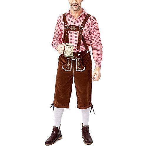 EqWong Herren Oktoberfest Kostüm, Beer Bavarian Lederhosen Kostüm Komplett-Set, Hosenträgern und Hut, Karohemd Outfit mit Hemd,Kleidung für Fasching, Karneval, Party Oder Wiesn