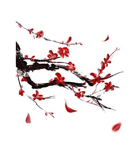 Red Phoenix Flower Cartoon Wandtattoo Wohnkultur Toilettensitz Aufkleber 22,5 * 23,2 CM Phoenix Flower
