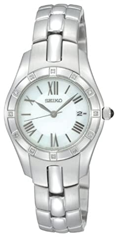 Seiko Men's Quartz Watch with Mother of Pearl Dial Analogue Display and Silver Stainless Steel Bracelet