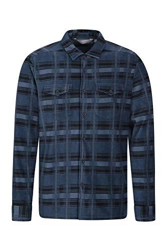 Mountain warehouse camicia uomo in pile - top traspirante, camicia da lavoro anti-piumino, leggera, asciugatura rapida, abbigliamento caldo - per camminare blu large
