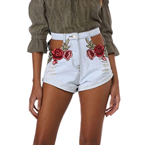 Minetom Jeanshose Damen Shorts Denim High Waist Vintage Rose Hot Pants Basic Kurz Hose Blume DE 40/Taille 76CM (Capri-hosen Set Denim)