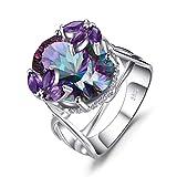 327a5e39f7e8 JewelryPalace Oval Natural Iris Cuarzo Amatista genuina Flor de cóctel  Anillo de compromiso Plata de ley 925