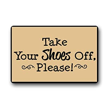 Custom Machine Washable Door Mat Please Take Your Shoes Off Indoor/Outdoor  Doormat 23.6u0026quot