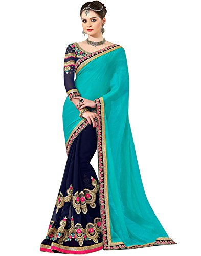 Sareeshop Georgette Saree With Blouse Piece (_Turquoise & Neavy Blue_Free Size)