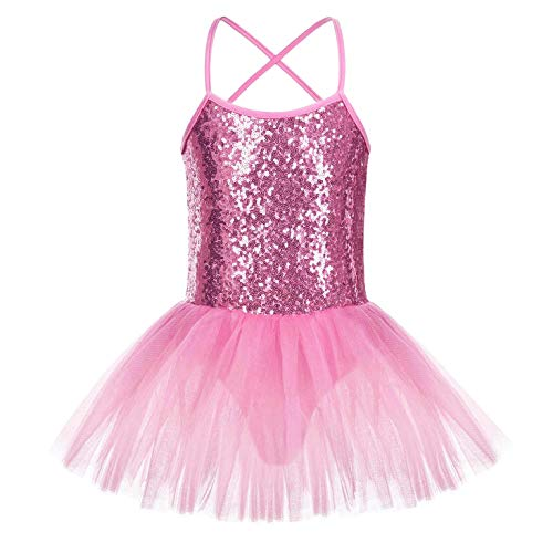 FONLAM Vestido Maillot de Ballet para Niña Vestido Danza Gimnasia Patinaje Tutú Ballet Niña Brillante (Rosa, 6-7 Años)