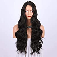 باروكة صناعية بنية غامقة للنساء - شعر مستعار ذو مظهر طبيعي طويل و مموج و مفروق من الجانب الأيمن، مقاومة للحرارة مصنوعة آلياً