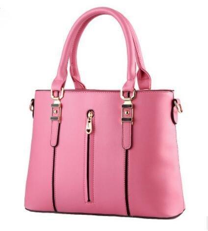 HQYSS Damen-handtaschen PU Leder Spring Modelle OL s weibliche Vertikalschnitt Reißverschluss Schulter Messenger Tasche , pink (Tommy Hilfiger Tasche Pink)