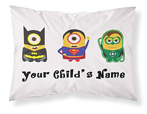 DEFFWB PersonalizedPillowcase Customizable, Minions Themed Pillowcase, Featuring Batman, Superman and The Green Lantern. Personalized with Your Child's Name for Boys of All Ages!