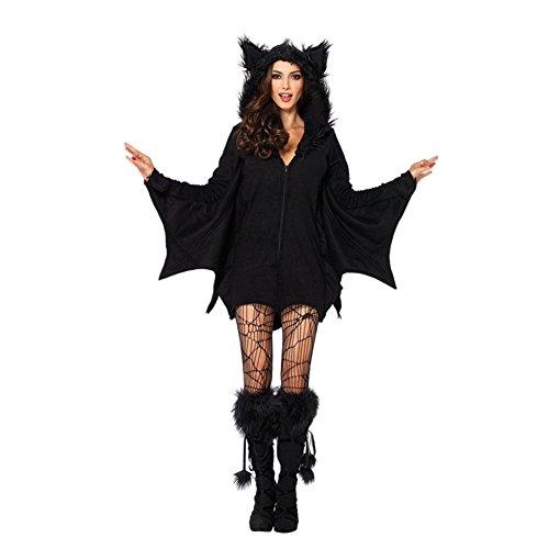 Zhuhaixmy Bat Wing Jumpsuit Halloween Cosplay Kostüm für Kinder Mädchen Frauen (Für Halloween City Kostüme Mädchen)