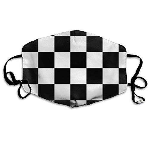Daawqee Staubschutzmasken, Sporty Auto Racing Chequered Flag Checkered Flag Anti Dust Face Mouth Cover Mask Respirator Cotton Protective Breath Healthy Safety Warm Windproof Mask -