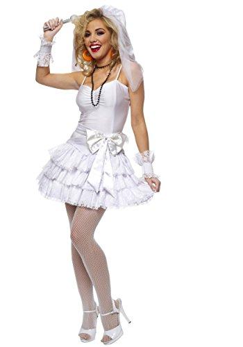 CLUBCORSETS Ladies Madonna Virgin Bride 80s Fancy Dress Costume ()