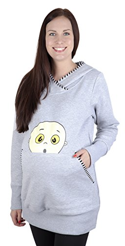 Mija - Blouse amusant pour bébé t de maternité Chaleureux et confortable Sweat a capuche Jacke 3096 Melange