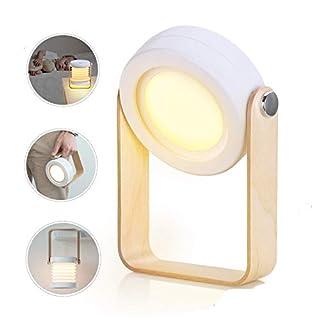 AURSEN Nachttischlampe Touch Dimmbar, Baby Nachtlicht, LED Nachtlicht Laterne Vintage Tischlampe mit Holz-Handgriff, 3 Helligkeitsstufen, Klappbare Tragbare Tischleuchte Leselampe für Schlafzimmer