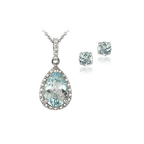 Sterling Silver 4.3ct Blue Topaz & Diamond Accent Teardrop Necklace Earrings Set