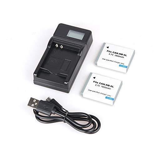 Yao 2 stücke 1600 mah nb-6l nb 6l nb6l Batterie + LCD USB ladegerät für Canon IXUS weiß -