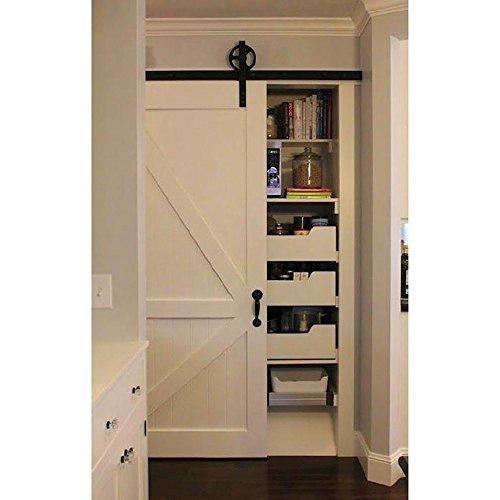 Set de puerta corredera y raíl de Hahaemall, estilo de puerta de...
