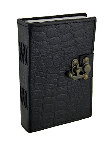 Black Python geprägtes Leder Journal 12,7x 17,8cm. (Python-geprägte Leder)