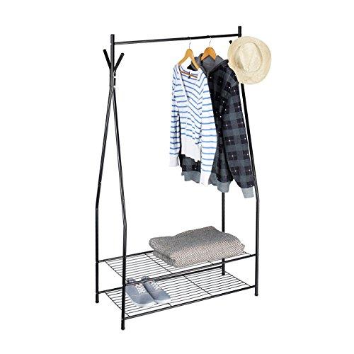 Relaxdays Kleiderständer mit Schuhablage SANDRA, Metall, breit, Garderobenständer mit Kleiderstange, 2 Ablagen auch für Stiefel, HBT: 162 x 90 x 40 cm, schwarz