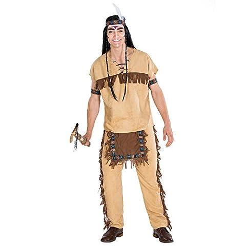 Déguisement pour homme indien | Costume avec bandeau et bracelets élastique | Indian ouest sauvage costume (XXL | no. 300608)