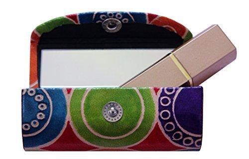 The storeking porta rossetto custodia in cuoio–borsa organizer per purse- lipstick holder- durevole in morbida pelle–cosmetici storage kit con specchio (multicolor1)