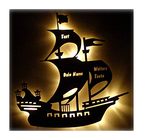 o Holz Lampe Piratenschiff mit Name und Geburtsdaten Geschenk-e für Piraten-Zimmer Jung-e Mädchen Mann Männer Kinderzimmer ()
