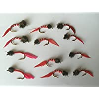 Fly Fishing Bloodworm NYMPHS Blood worm Set sizes 10-14 Twelve flies PACK#3