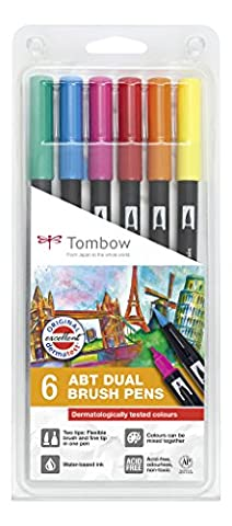 Tombow ABT-6P-3 Dual Brush Pen Lot de 6 Feutres pinceau