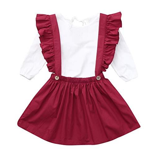 Party Bluse Set (TTLOVE Kinder MäDchen Kleidung Langarm Shirts Bluse + Straps Party Rock Set Outfit Kleinkind Infant Baby Stil Punkt Kurzarm-Shirt Anzug Kinderkleidung(Weiß,120))