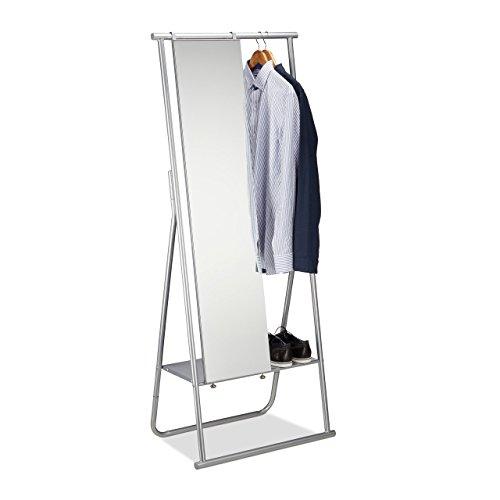 garderobe silber Relaxdays Metall Garderobe mit Ganzkörperspiegel, Kleiderstange & Ablage, Garderobenständer HBT 156,5x64,5x39 cm, silber